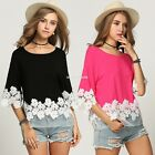New Fashion Womens Ladies Floral Lace Casual Tops Shirts Blouse T-shirts EN24H