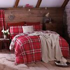 Catherine Lansfield Red Tartan Kelso Bedding Quilt Duvet Cover Set Cotton Rich