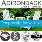 Set Adirondack Folding Chair 5 Pce White Outdoor Garden Beach Wooden Furniture