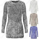 NEW LADIES MOHAIR SOFT KNIT LOOK JUMPER WOMENS LONG FLUFFY KNITTED WARM TOP