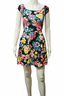 Womens New Look A Line Skater Swing Dress Multi Floral Black Size 6 to 14 Ladies