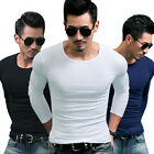 Men's Long Sleeve Slim Fit Winter Solid T-Shirts Tee Casual Tops Blouse M-XXXL