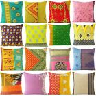 "18"" Kantha Embroidered Boho Pillow Decorative Sofa Indian Bohemian Cushion Cover"