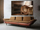 """Cowboy hat on straw bale Huge canvas print, Size up to 60""""x40"""", wall decoration"""