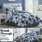 8 Piece Comforter Bed Bedding Set King Queen Full Twin Blue White Gray Geometric