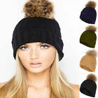 NEW WOMEN LADIES KNIT FAUX FUR POM POM HAT BEANIE BOBBLE TOWIE LOOK KNITTED HATS