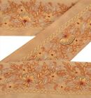 ANTIQUE VINTAGE SAREE BORDER HAND EMBROIDERED CRAFT TRIMS 2YD RIBBON BEIGE