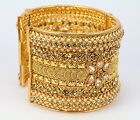 Kundan Polki 1pc. Broad Bangle Indian Jewelry Wedding Kada New