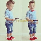 Boys Gentleman Tie + Shirt + Jeans Set Kids Clothes Outfits for wedding/party