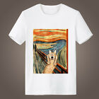 Cat-people Munch Vintage Painting Short Sleeve T-shirt  Summer Cotton Tee Top