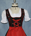 DIRNDL DRESS Sz 8 German Trachten Oktoberfest 3pc SHORT Party Waitress BLACK RED