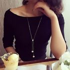 New Women Pearl Pendant Long Thin Chain Sweater Necklace Fashion Jewelry