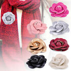 7 Colors Vintage Brooch Corsage PU Leather Camellia Brooch Pin Flower Decoration
