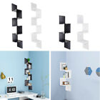 2 3 5 Tiers Wall Corner Wood Shelf Zig Zag Floating Display Rack Home Furniture