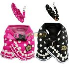 Small Dog Cat Puppy Vest Harness Leash Set Soft Mesh Padded Walk Lead Polka Dot