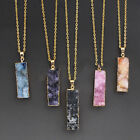 ED7 Natural Quartz Crystal Gold Plated Pendant Necklace