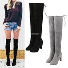 New Women Over Knee Boots Shoes Slip-on Block High Heel Lace Up Boots EN24H