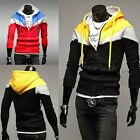 New Men's Casual Color Block Cardigan Hoodies Fleece Sweats Jacket Coat Outwear