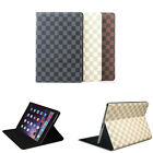 Luxury Fashion Grid Leather flip Stand wake up case cover for i pad mini pro LV6
