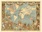 1886 Pictorial Map Extent of the British Empire England UK Wall Art Poster Print