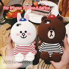 NEW 3D Cute Silicone Friends Bear Bunny Couple case For iPhone 6 6SPlus 7 7Plus