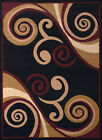 Red Contemporary Abstract Area Rug Swirls Curves Waves Polypropylene Carpet