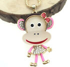 Fashion Jeweley Women Gifts Rhinestone Cartoon monkey Pendant New Chain Necklace