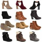 Womens Ankle Chunky Wedge Low Heel Buckle Zip Fringe Open Toe Fashion Boots New