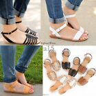 New Women's Sandals Flat Strappy Gladiator Open Toe Shoes Size Faux Leather