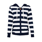 Women Pocket Hoodie Sweatshirt Striped Hooded Jacket Tops Zipper Casual Outwear
