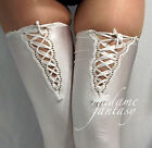 MADAME FANTASY WHITE LACE UP TOP OPAQUE SPANDEX STOCKINGS XS S M L XL XXXL Tall