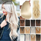 Double Thick Full Head Weft Clip in on Hair Extensions Full Head human made Hair