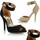 Womens Ladies High Stiletto Heel Ankle Strap Peeptoe Faux Suede Sandals Shoes