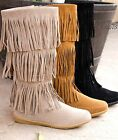 NEW Moccasin Fringe Women's Casual fashion Faux Suede Flat Round Toe Shoes