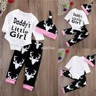 Newborn Baby Kids Girls Little Tops Romper +Long Pants Hat Outfits Sets S0BZ