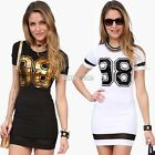 Women's Summer Long Pullover Blouse Tops Shirt Mini Dress 98 Print Slim T-shirt