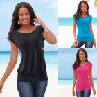 Summer Women Solid Raglan Sleeve T-Shirt Lady Casual Loose Plain Tops Blouse SZ