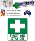 FIRST AID STATION METAL TIN OR POLY SAFETY SIGN 300x225mm,450x300mm OR 600x450mm