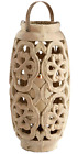 Round Weathered Stone Pillar Candle Holder Concrete Moroccan Open Fretwork