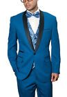 Mens Indigo Blue Twill One Button Three Piece Tuxedo Suit With Shawl Lapel