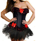 Top Sexy Burlesque Satin Lace up Overbust Corset Bustier + Skirt + Stockings