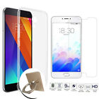 Tempered Glass + Thin Clear TPU Soft Case + Finger Stand Ring Cover For Meizu