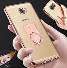 Ultra-thin Rose Gold  Bumper Clear Case Cover & Finger Stand Ring for Phones