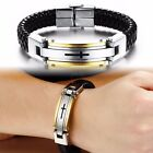 Mens Stainless Steel Cross Carving Black Braided Leather Bracelet Cuff Wristband