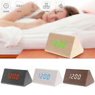Wooden Voice Control LED Display Alarm Digital Triangular Desk Clock Thermometer
