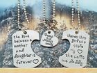 Father Mother Daughter Necklace Set, Best Family Gifts 3pc Dog Tag Heart Pendant