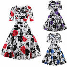 Vintage Evening Women Dress 50s Pin Up Flower Cocktail Rockabilly Party Swing