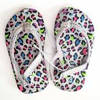 Capelli Toddler Girls' Rainbow Leopard Print Silver Glitter Flip Flop Sandals