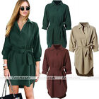 Casual Winter Women Slim Soft Basic Solid Color 3/4 Long Sleeve Lapel Coat Dress