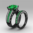 18K Black Gold Filled Jewelry Green AAA Zircon Women Party Rings For Gift